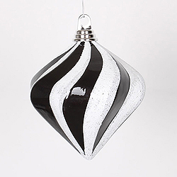 6 Inch Black And Silver Candy Glitter Swirl Diamond Christmas Ornament