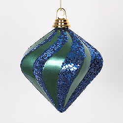 6 Inch Teal And Sea Blue Candy Glitter Swirl Diamond Christmas Ornament
