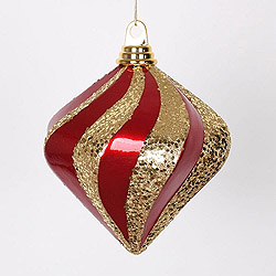 6 Inch Red And Gold Candy Glitter Swirl Diamond Christmas Ornament