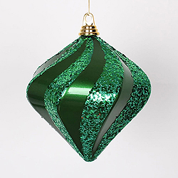 8 Inch Green Candy Glitter Swirl Diamond Christmas Ornament
