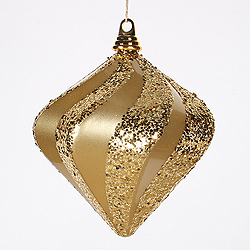 8 Inch Gold Candy Glitter Swirl Diamond Christmas Ornament