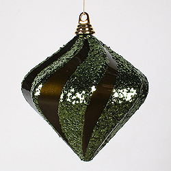 8 Inch Olive Candy Glitter Swirl Diamond Christmas Ornament