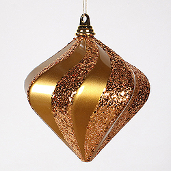 8 Inch Antique Gold Candy Glitter Swirl Diamond Christmas Ornament
