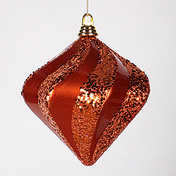8 Inch Orange Candy Glitter Swirl Diamond Christmas Ornament