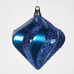 8 Inch Sea Blue Candy Glitter Swirl Diamond Christmas Ornament