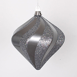 8 Inch Pewter Candy Glitter Swirl Diamond Christmas Ornament