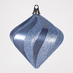 8 Inch Periwinkle Candy Glitter Swirl Diamond Christmas Ornament