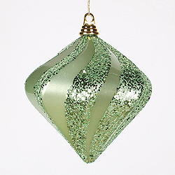 8 Inch Celadon Candy Glitter Swirl Diamond Christmas Ornament