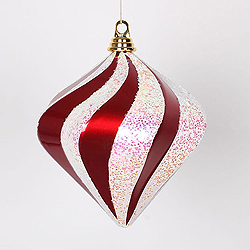 8 Inch Red And White Candy Glitter Swirl Diamond Christmas Ornament