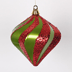 8 Inch Lime And Red Candy Glitter Swirl Diamond Christmas Ornament
