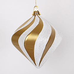 8 Inch Gold And Silver Candy Glitter Swirl Diamond Christmas Ornament