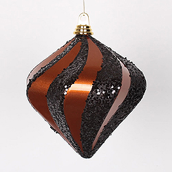 8 Inch Copper And Black Candy Glitter Swirl Diamond Christmas Ornament