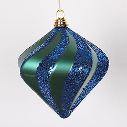 8 Inch Teal And Sea Blue Candy Glitter Swirl Diamond Christmas Ornament