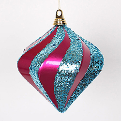 8 Inch Cerise And Turquoise Candy Glitter Swirl Diamond Christmas Ornament
