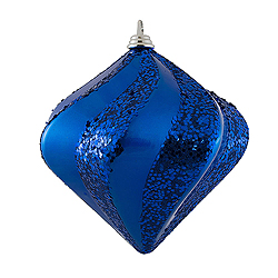 10 Inch Blue Candy Glitter Swirl Diamond Christmas Ornament