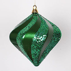 10 Inch Green Candy Glitter Swirl Diamond Christmas Ornament