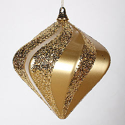 10 Inch Gold Candy Glitter Swirl Diamond Christmas Ornament