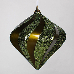 10 Inch Olive Candy Glitter Swirl Diamond Christmas Ornament