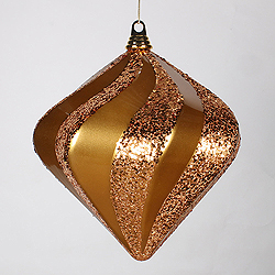 10 Inch Antique Gold Candy Glitter Swirl Diamond Christmas Ornament