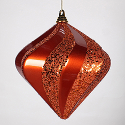 10 Inch Orange Candy Glitter Swirl Diamond Christmas Ornament