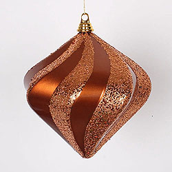 10 Inch Copper Candy Glitter Swirl Diamond Christmas Ornament