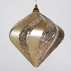 10 Inch Champagne Candy Glitter Swirl Diamond Christmas Ornament