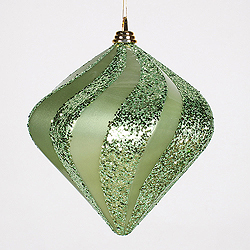 10 Inch Celadon Green Candy Glitter Swirl Diamond Christmas Ornament