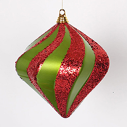 10 Inch Lime And Red Candy Glitter Swirl Diamond Christmas Ornament