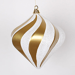 10 Inch Gold And Silver Candy Glitter Swirl Diamond Christmas Ornament