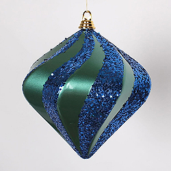 10 Inch Teal And Sea Blue Candy Glitter Swirl Diamond Ornament