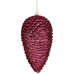 5 Inch Burgundy Matte-Glitter Pinecone Ornaments - Box Of 12