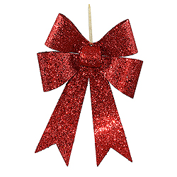 12 Inch Red Sequin Bow Ornament 4 per Set