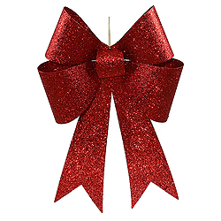18 Inch Red Sequin Bow Ornament Box of 2