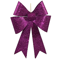 18 Inch Purple Sequin Bow Ornament Box of 2
