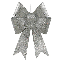 18 Inch Silver Sequin Bow Ornament 2 per Set