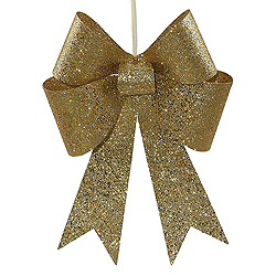 18 Inch Gold Sequin Bow Ornament 2 per Set