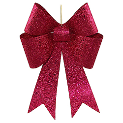 18 Inch Cerise Sequin Bow Ornament 2 per Set