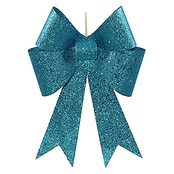 18 Inch Turquoise Sequin Bow Ornament 2 per Set