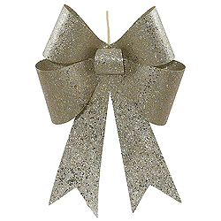 18 Inch Champagne Sequin Bow Ornament 2 per Set