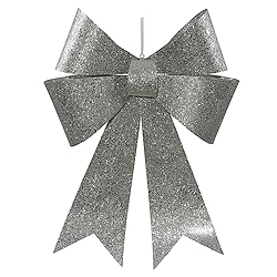 30 Inch Silver Sequin Bow Ornament