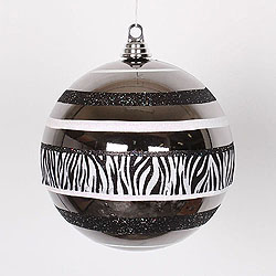 7.9 Inch Chrome Zebra Shiny Glitter Round Ornament