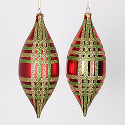 7 Inch Red Lime And Gold Drop Ornament Assorted Finishes 4 per Set