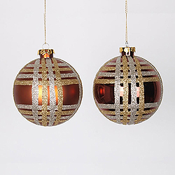 4 Inch Copper Champagne And Gold Assorted Finishes Round Christmas Ball Ornament 4 per Set