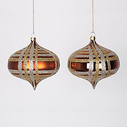 4 Inch Copper Champagne And Gold Onion Ornament Assorted Finishes 4 per Set