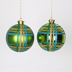 4 Inch Lime Turquoise And Gold Assorted Finishes Round Christmas Ball Ornament 4 per Set