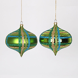 4 Inch Lime Turquoise And Gold Onion Ornament Assorted Finishes 4 per Set