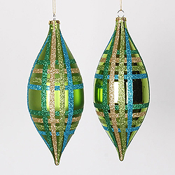 7 Inch Lime Turquoise And Gold Drop Ornament Assorted Finishes 4 per Set