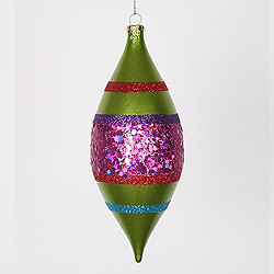 7 Inch Lime Cerise Purple And Red Glitter Drop Ornament 4 per Set