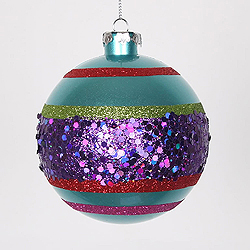 4 Inch Teal Purple Lime And Red Glitter Round Shatterproof UV Christmas Ball Ornament 4 per Set