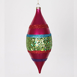 7 Inch Cerise Lime Purple And Red Glitter Drop Ornament 4 per Set